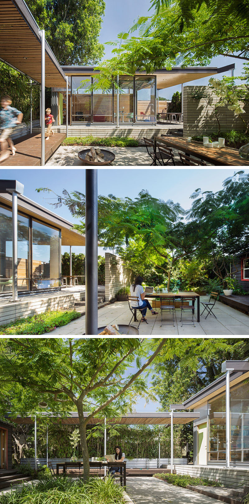 This courtyard between the main house and a backyard studio features a central paved terrace with a protected private area for dining, entertaining, lounging and year-round play. A central Silk tree provides dappled shade in summer. #Courtyard #Garden #Landscaping