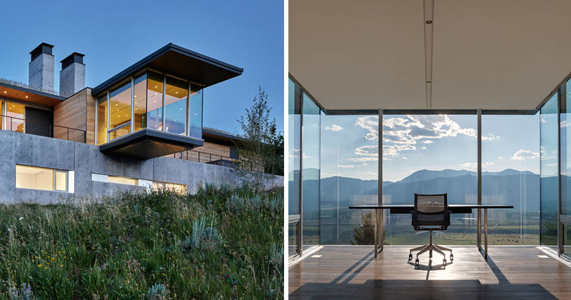 This modern house has a cantilevered office with floor-to-ceiling glass windows and uninterrupted views of the mountains. Click through to see more photos. #ModernArchitecture #ModernHouse #Cantilever #HomeOffice #Windows