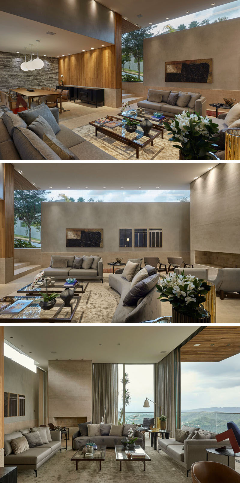 The hallway by the front door of this modern house steps down into the living room and dining room. High ceilings create a spacious and open feeling in the living room. #LivingRoom #Windows