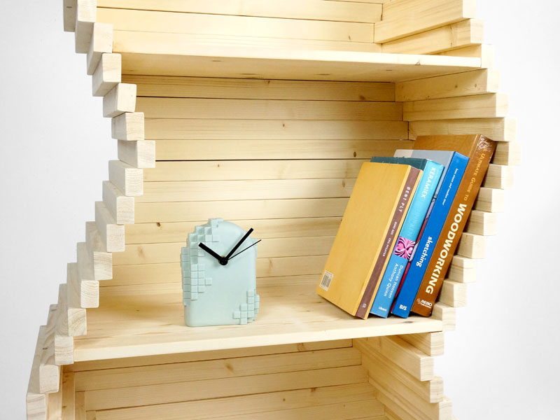 Studio Lorier have designed a new wood bookshelf, whose shape is customizable, and where each separate layer can be moved independently. Click through to see more photos. #Shelving #Bookshelf