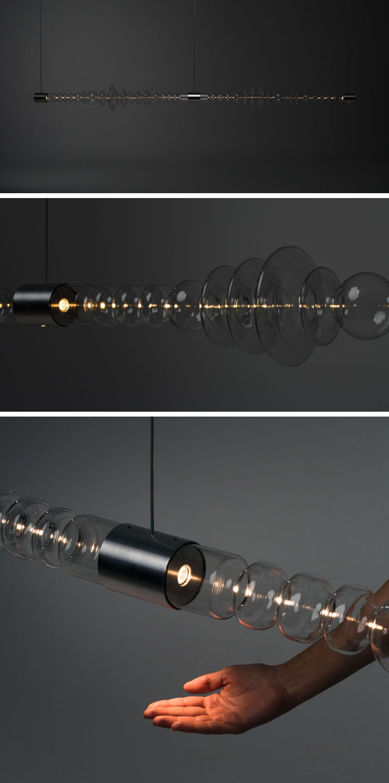 Madrid-based design firm Mayice Studio have created FILAMENTO, a sculptural lighting piece that's made from a single piece of glass more than 3 feet (1m) long. #ModernLighting #LightingDesign