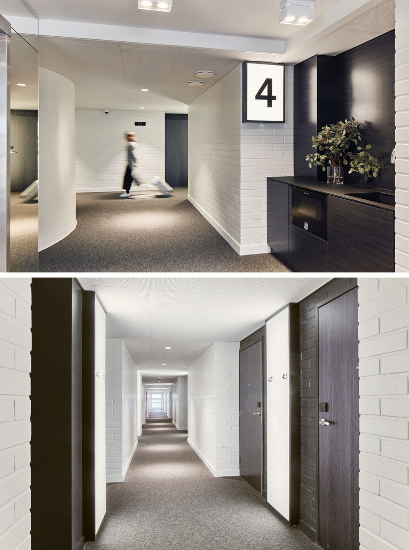 The hallways of this modern hotel have been kept simple in their design, with signage consisting of easily decipherable pictograms. Each floor also has a communal small kitchen with a microwave oven and a faucet with boiling hot water. #HotelDesign