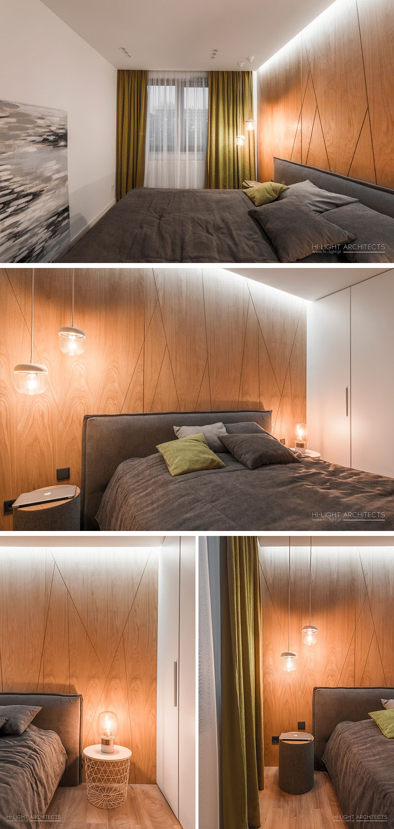 In this modern bedroom there's wood accent wall, with a diagonal pattern, that's highlighted by the hidden lighting in the ceiling. #ModernBedroom #WoodAccentWall