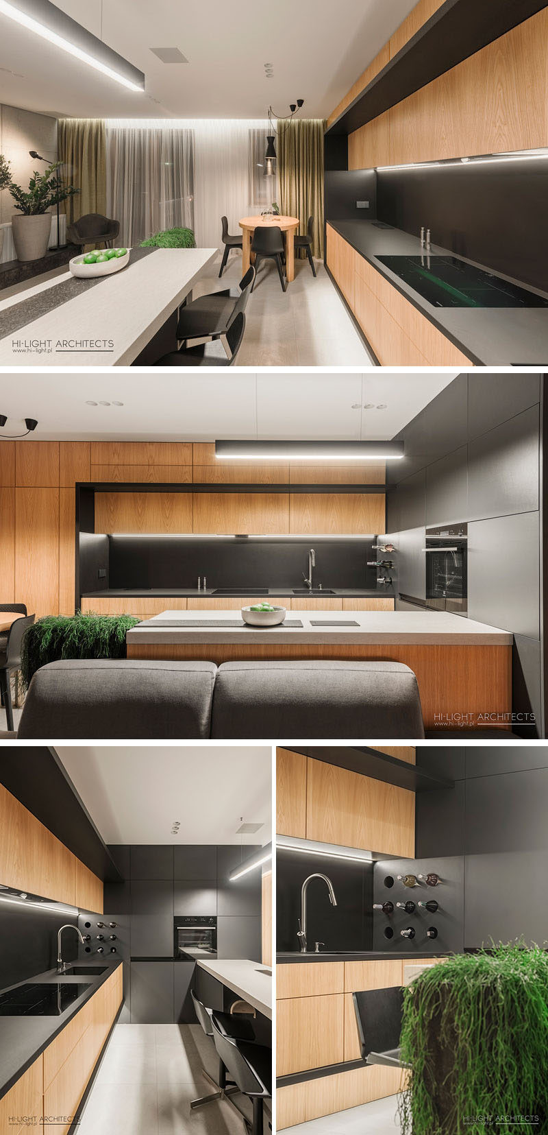 In this small and modern kitchen, black countertops contrast the wood cabinetry, while white countertops designate a bar area. At the end of the kitchen, there's a built-in wine rack. #ModernKitchen #KitchenDesign