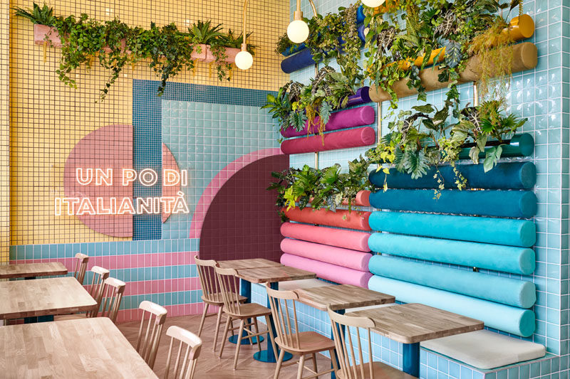 Spanish creative consultancy firm Masquespacio, have recently completed the design ofPiada, a modern Italian restaurant that's located in Lyon, France. Click through to see more photos. #RestaurantDesign #ModernRestaurant #Plants #InteriorDesign