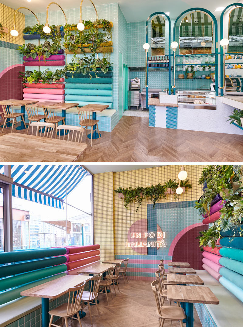 """This modern restaurant features plants, wood, terracotta and bright colors. The neon light """"A bit of Italy"""" was one of the key elements in the design. Click through to see more photos. #RestaurantDesign #RestaurantSeating #ModernRestaurant #InteriorDesign"""