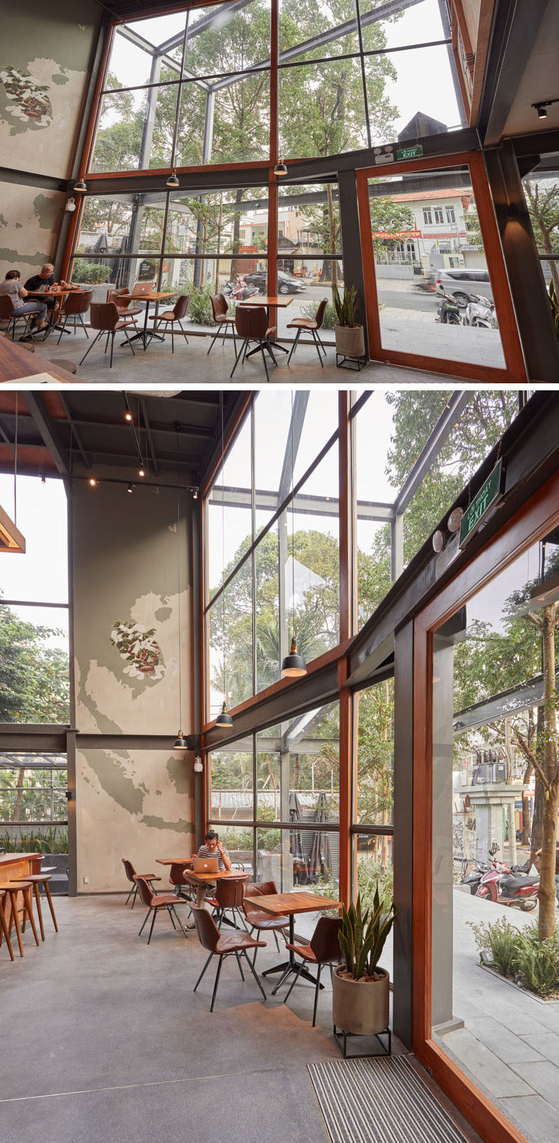 A large wall of windows floods the interior of this modern coffee shop with natural light and seating positioned next to the windows provides customers with street views. #CoffeeShop #Windows #Architecture