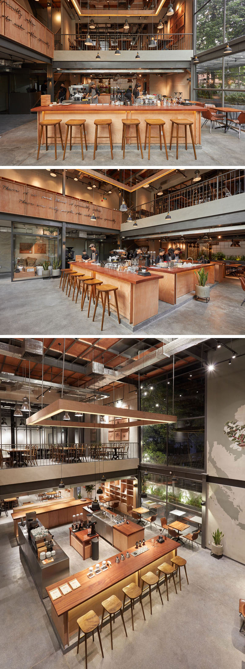 This modern coffee shop has a service area and coffee bar are positioned in the center of the room, allowing people to see the employees making their drinks. #Cafe #CoffeeShop
