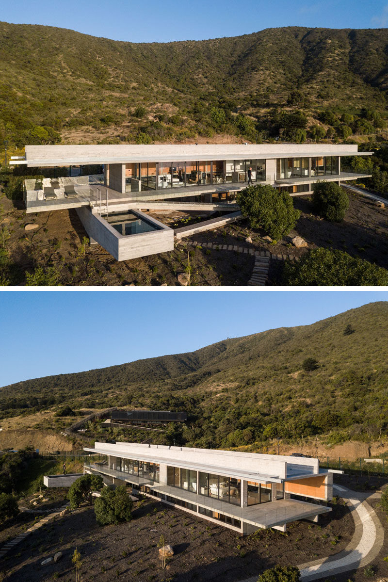 Felipe Assadi Arquitectos have designed House H, a modern concrete house that's located within the hills of Zapallar, Chile, and features a cantilevered swimming pool. Click through to see more photos of this house. #ConcreteHouse #Architecture #SwimmingPool