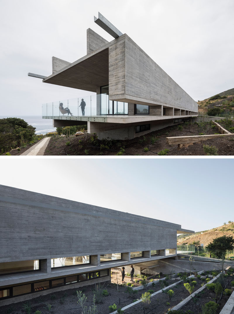 Felipe Assadi Arquitectos have designed House H, a modern concrete house that's located within the hills of Zapallar, Chile. Click through to see more photos of this house. #ConcreteHouse #Architecture #SwimmingPool