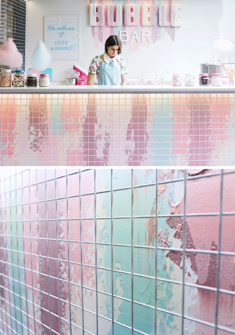 LYSIUK architects have designed Bubble Bar, a small cafeteria-like dessert bar that specializes in waffles, ice-cream and candyfloss. #DessertBar #Design #Architecture
