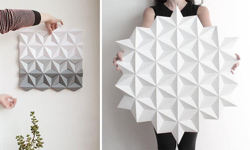 Kinga Kubowicz of KingKongDesignShop has created Moduuli, a collection of unique, modern, and eye-catching geometric origami wall art. #ModernWallArt #GeometricWallArt #Origamii #Decor
