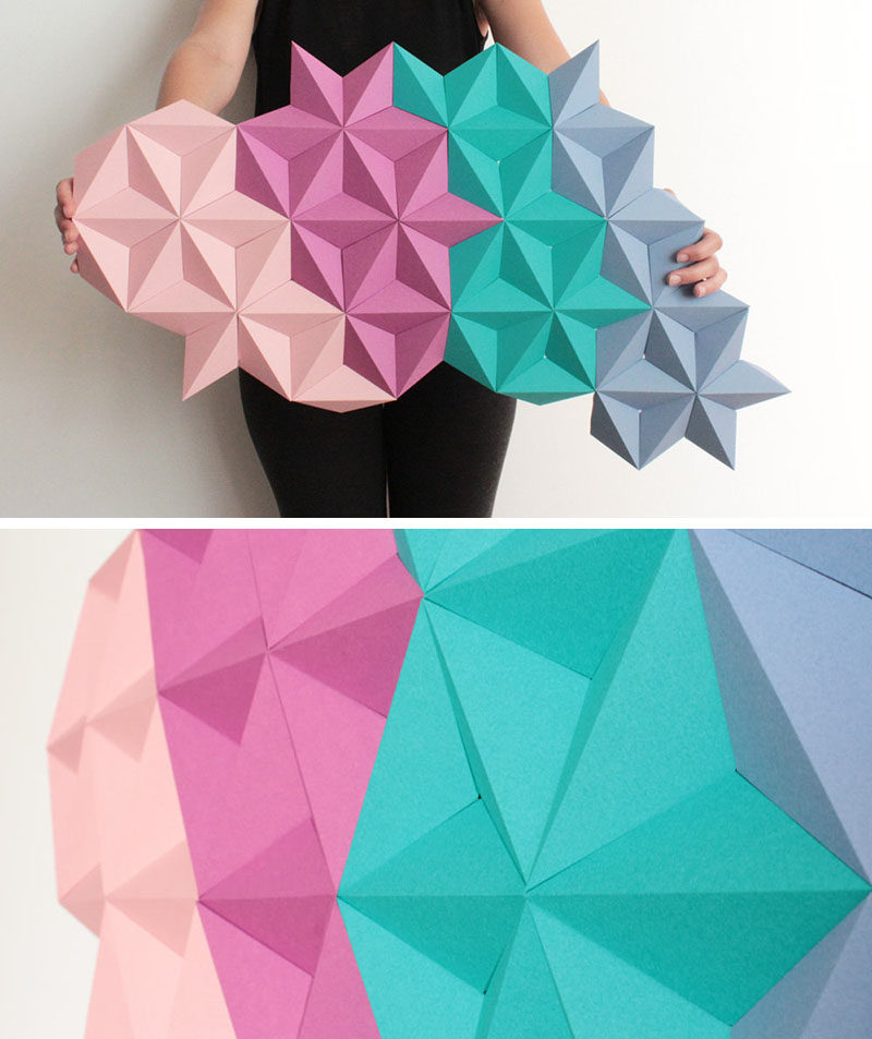 Based In Barcelona Spain The Designer Makes Origami Inspired Wall Art From Individual Paper Modules That Are Folded Into Shape An Assembled Together