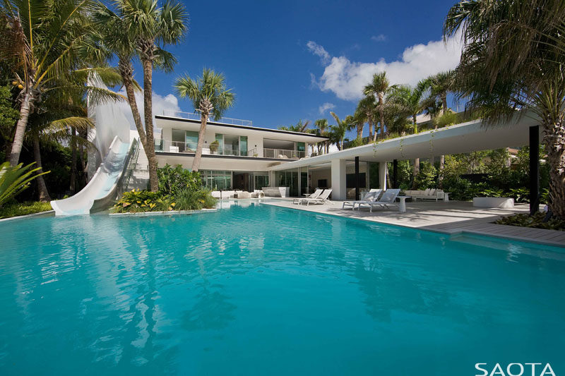This Home In Miami Was Designed With A Slide To The Pool From The Second Floor Of The House