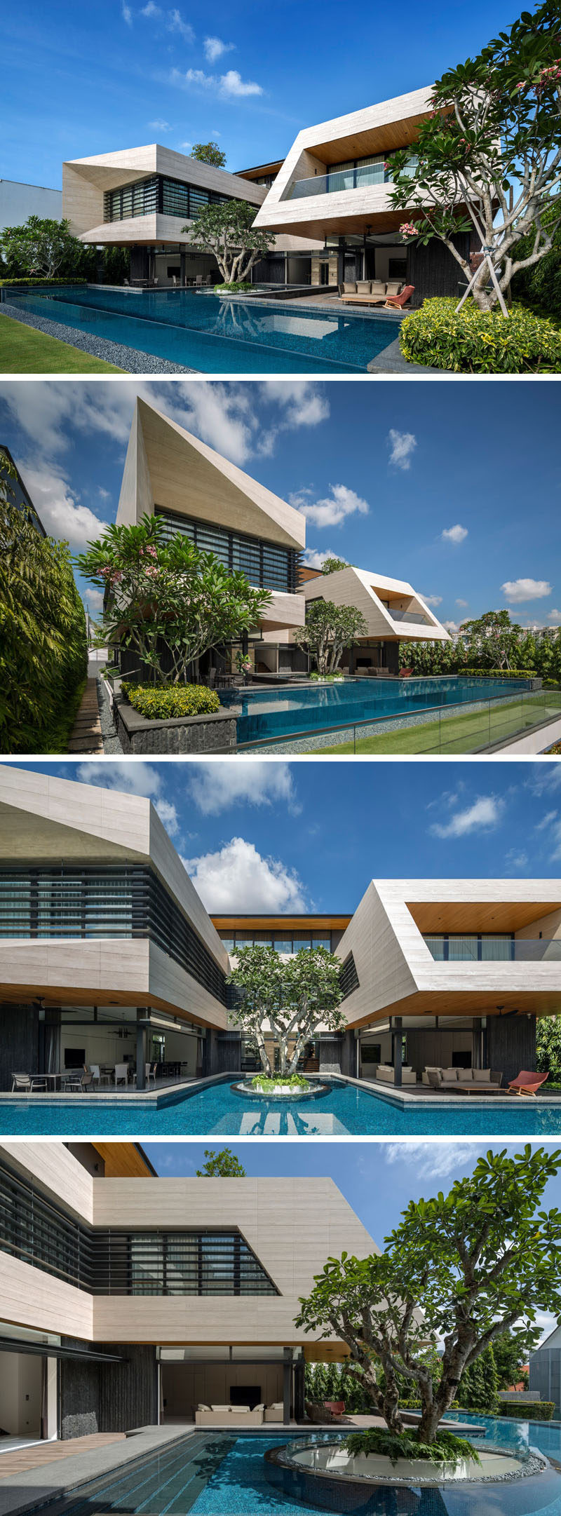 This modern house has a large pool with a single Frangipani tree floating in the swimming pool, and the floating planter allows daylight and natural ventilation to the garage below. #SwimmingPool #Landscaping