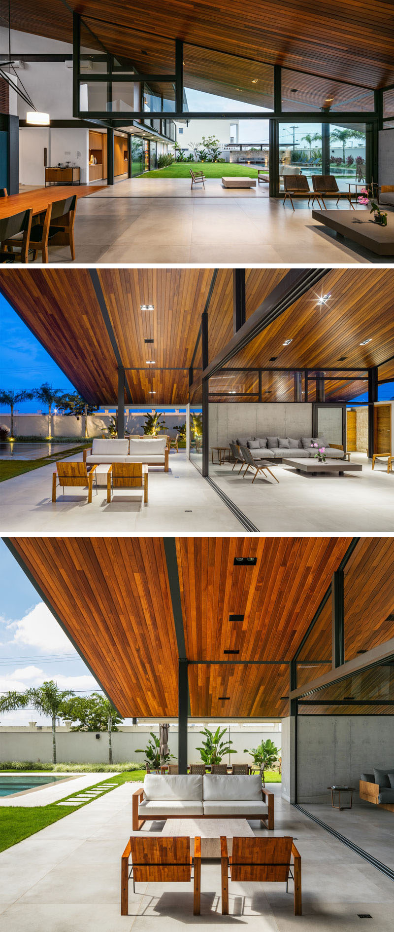 The living area in this modern house opens up to the covered outdoor lounge and alfresco dining space. The sloped ceiling runs from the interior of the home to the exterior, with angled windows following the line. #ModernHouse #IndoorOutdoorLiving #SlopedWoodCeiling