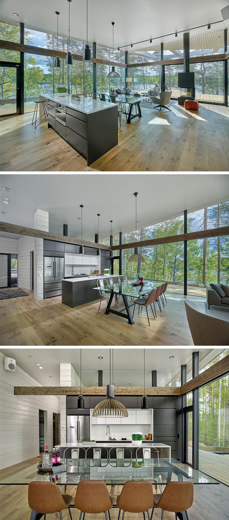 In this modern house, a simple pendant light anchors the glass dining table in the open room, while behind it sits the kitchen with dark cabinets and white countertops. #OpenPlan #Dining #Kitchen