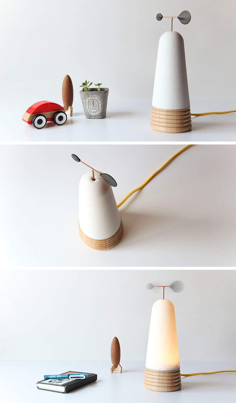 This modern table lamp needs to have a slight breeze to be able to be turned on. #Lighting #Design