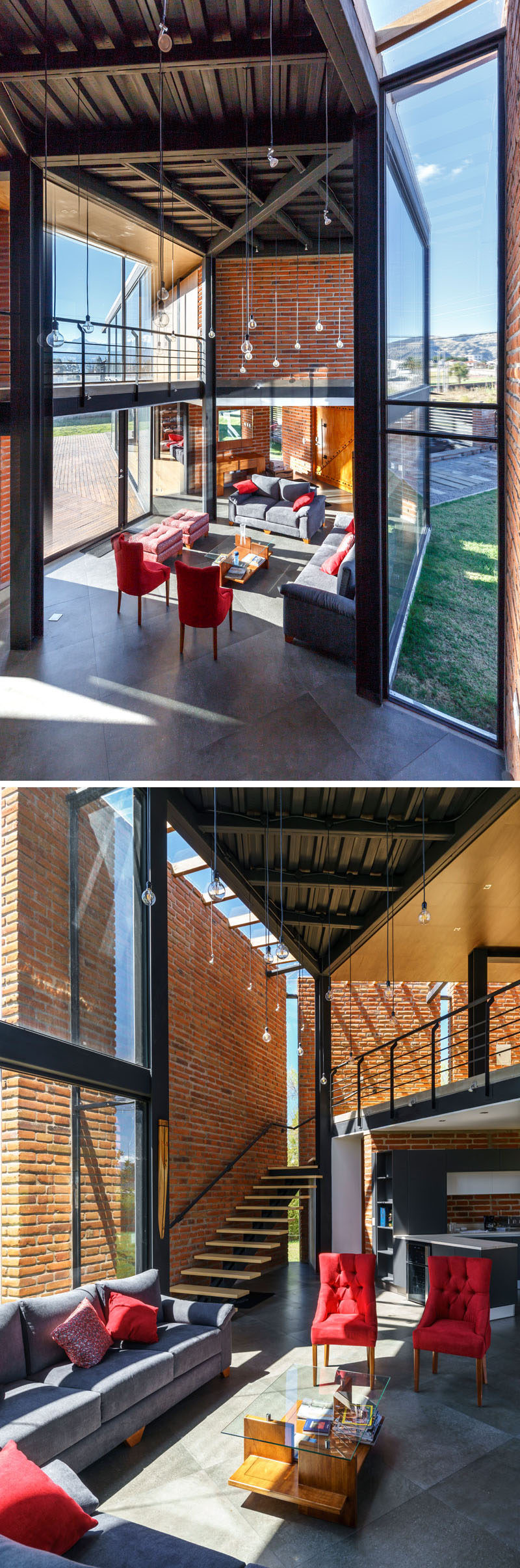 In the living room of this modern house, double height ceilings make the space feel open and airy, while the brick walls break up the glass and steel elements. #LivingRoom #HighCeilings