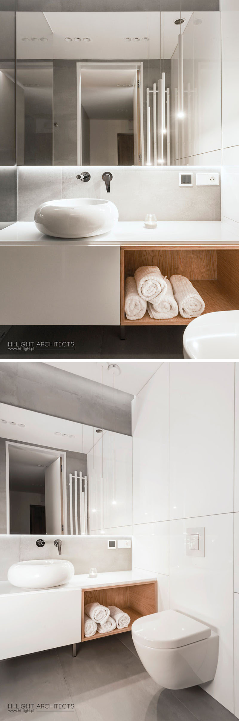 This mostly white bathroom has a blacklit mirror, grey accents and an open wood shelving space. #ModernBathroom