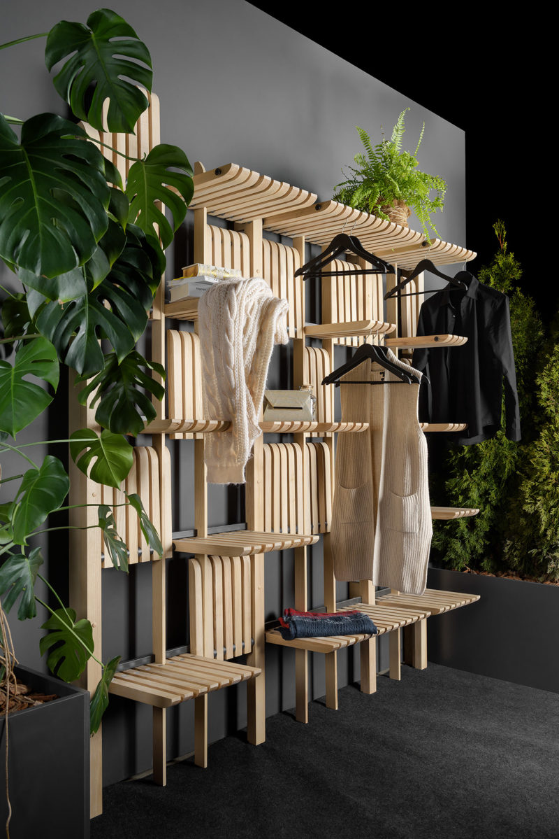 Artem Zakharchenko has designed the 'Gate' furniture system that consists of a modern wood shelving unit that can be used as a wardrobe, living room furniture, kitchen storage, and more. #ShelvingUnit #WoodShelving #ModernShelving