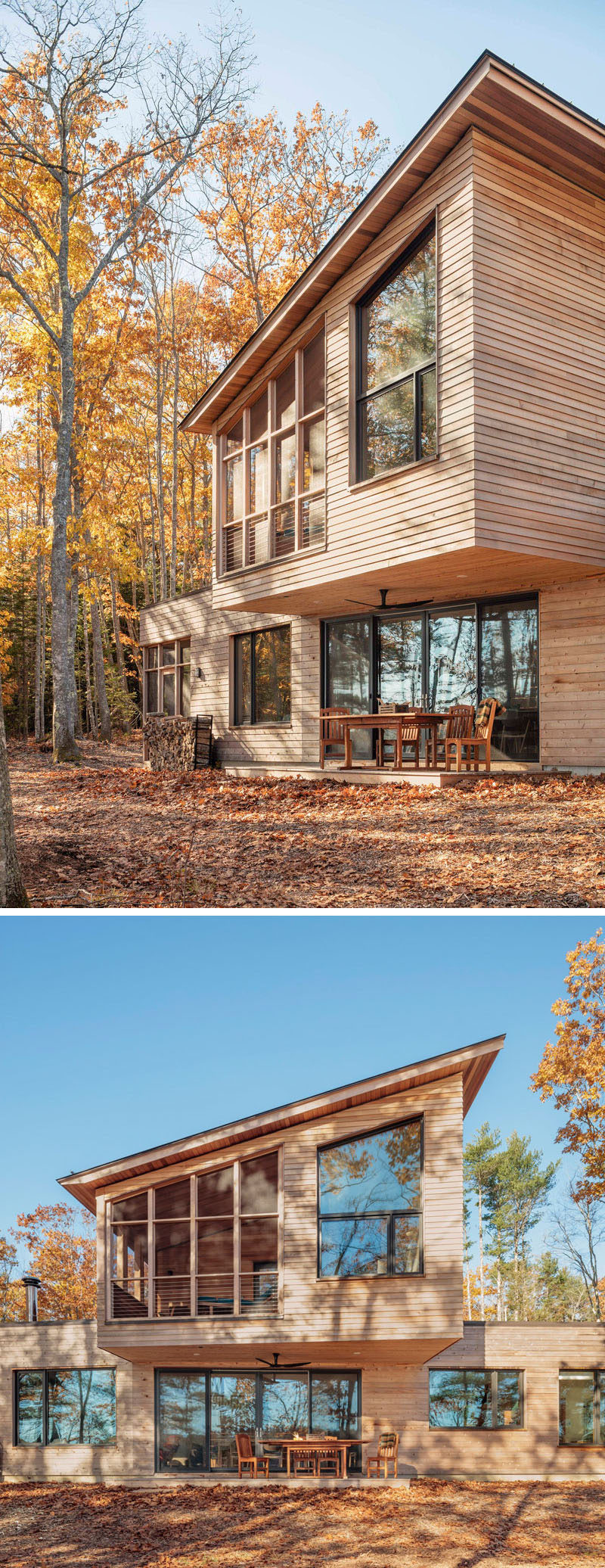 Kaplan Thompson Architects have designed a new contemporary house in Harpswell, Maine, that sits by the water and features a cedar siding exterior with various textures that allow the house to melt away into the trees. #ModernHouse #WoodHouse