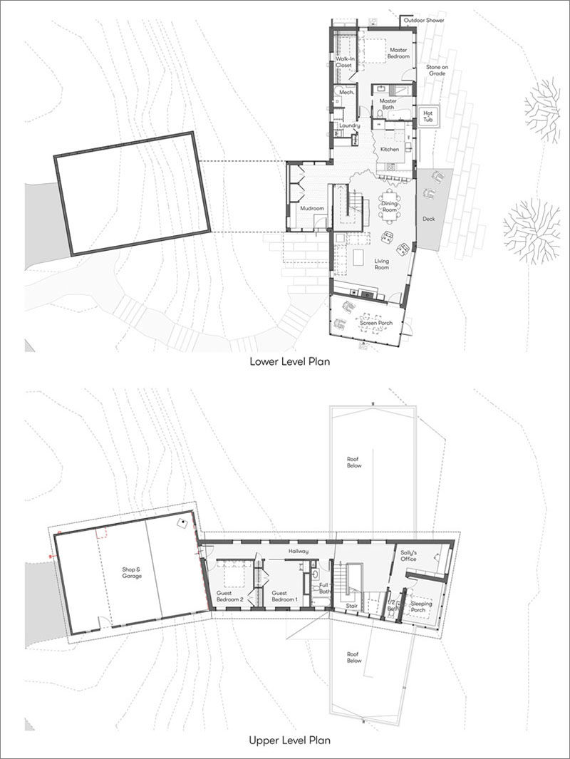 Floor plans for a modern two-storey wood house. #ModernHouse #HousePlans #FloorPlans