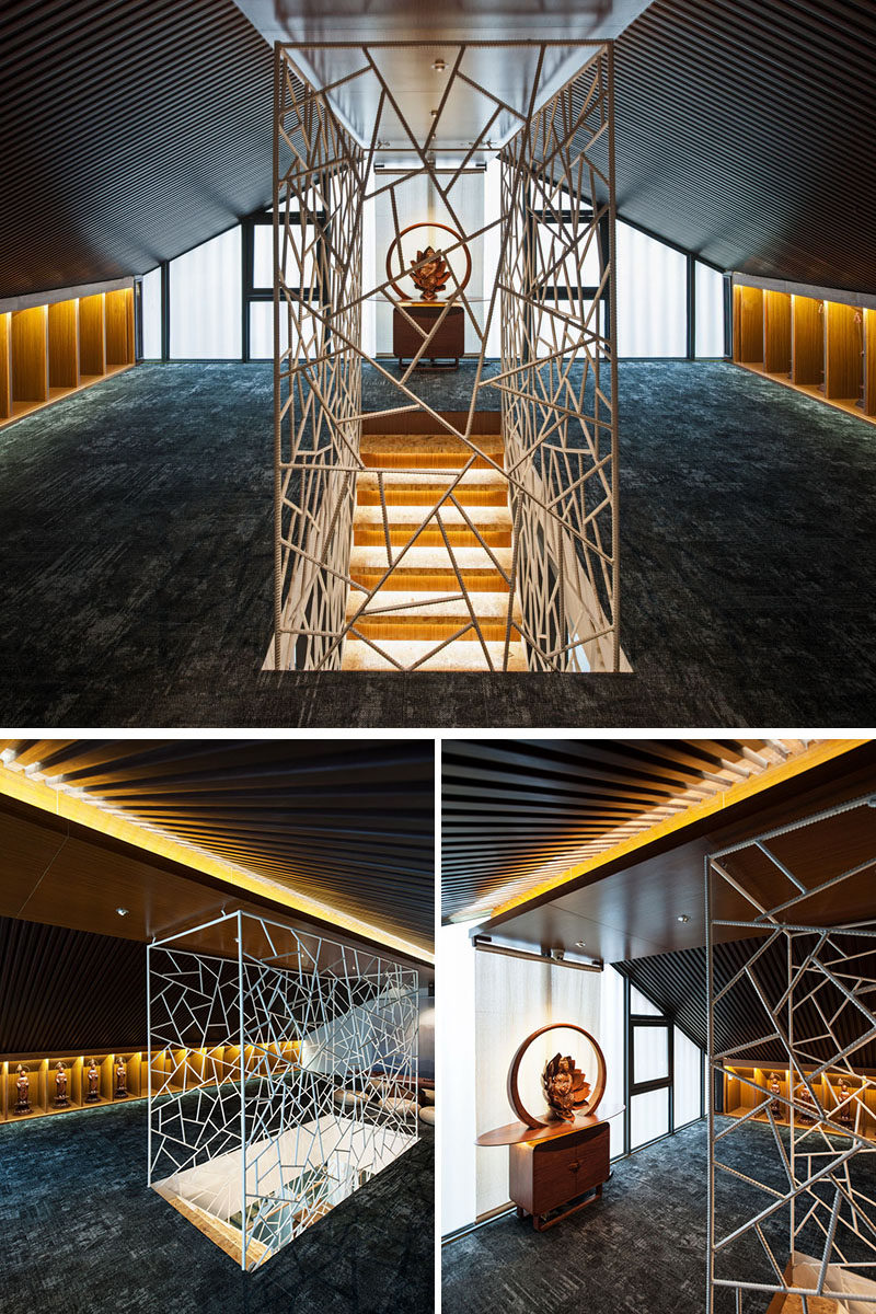 MINAX Architects have designed an 'ice-cracked' rebar safety barrier for these modern stairs. #ModernStairs #Design #Interiors