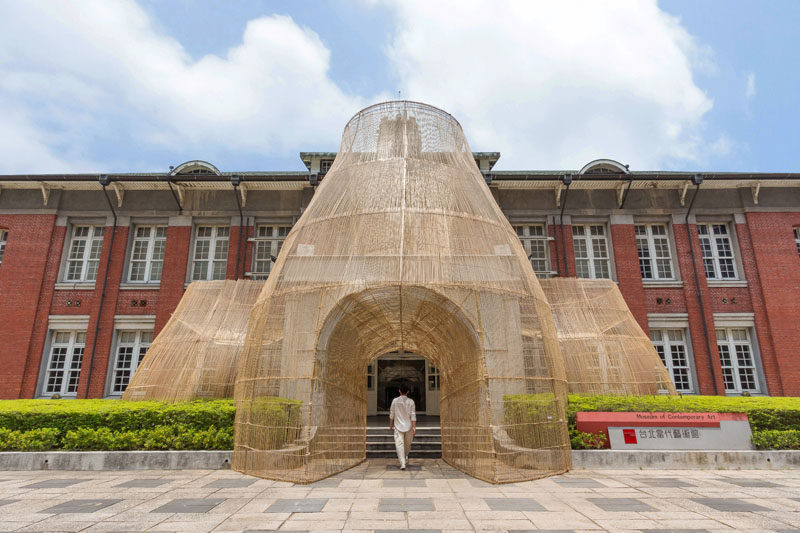 """Artist Cheng Tsung FENG has designed a large bamboo art installation for the Museum of Contemporary Art in Taipei, Taiwan, that's named """"The Trap"""". #ModernArt #ArtInstallation #Sculpture #Bamboo #Design"""