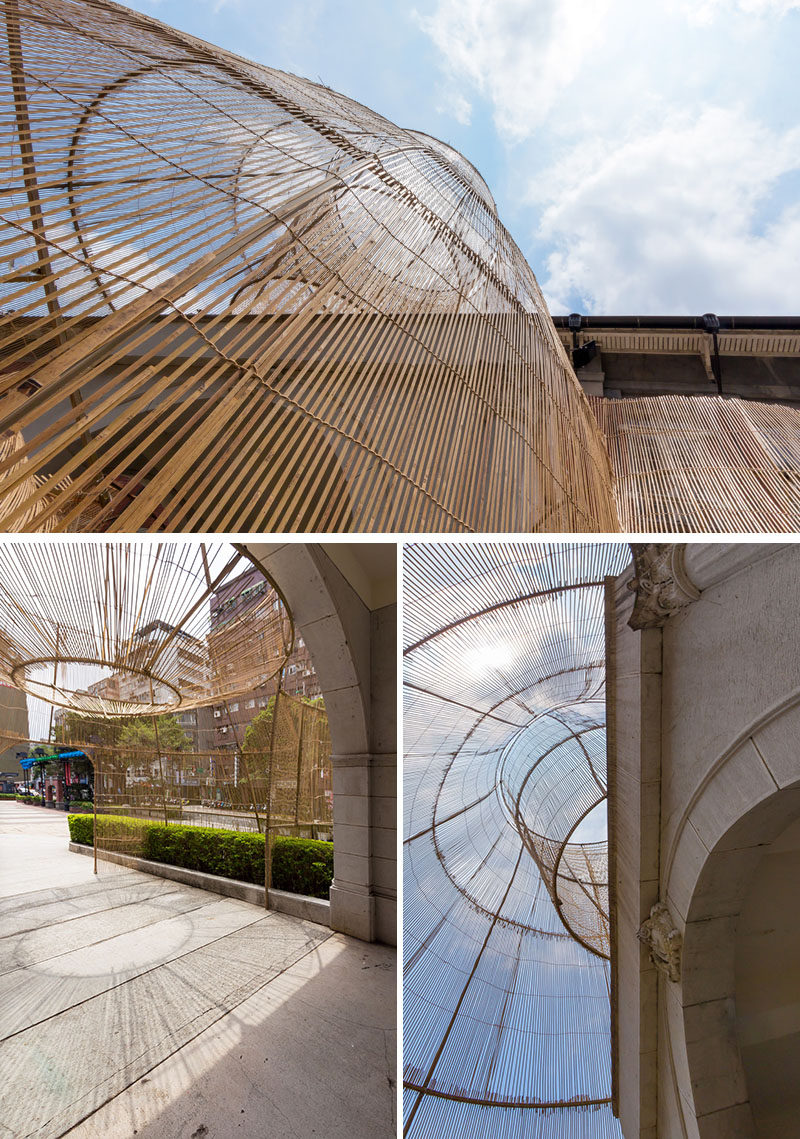 "Artist Cheng Tsung FENG has designed a large bamboo art installation for the Museum of Contemporary Art in Taipei, Taiwan, that's named ""The Trap"". #ModernArt #ArtInstallation #Sculpture #Bamboo #Design"