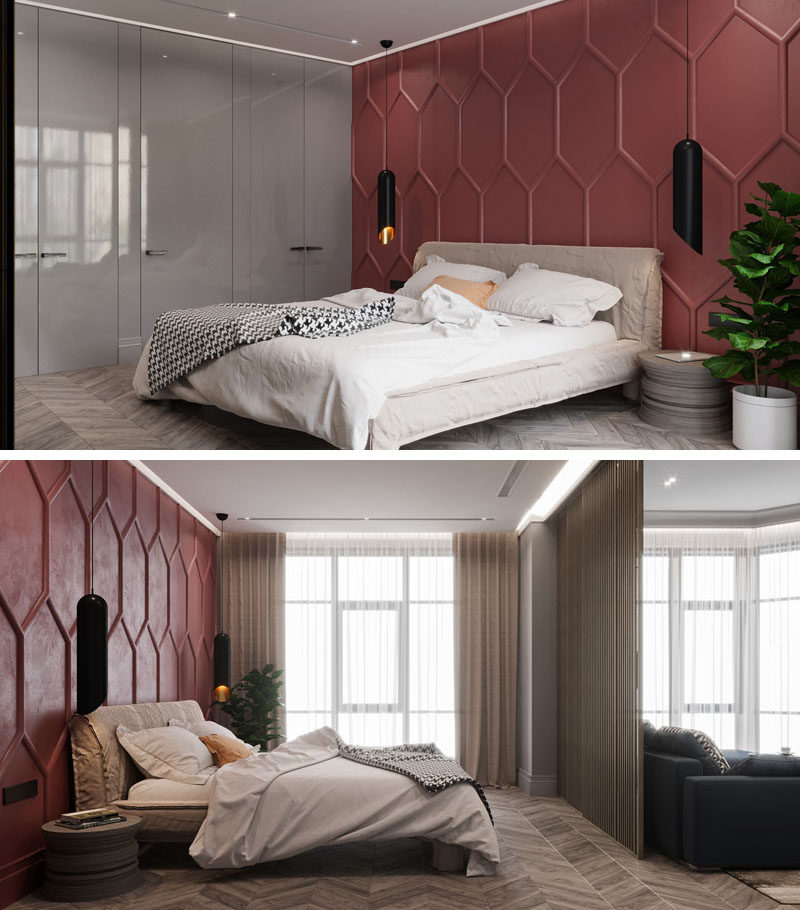 OM Architecture have designed an apartment in Kiev, Ukraine, that features a bold deep red accent wall in the bedroom. Moldings were used to create the pattern, while a single color helps to create a dramatic feature wall. #AccentWall #FeatureWall #Pattern #Bedroom #ModernBedroom #DeepRed