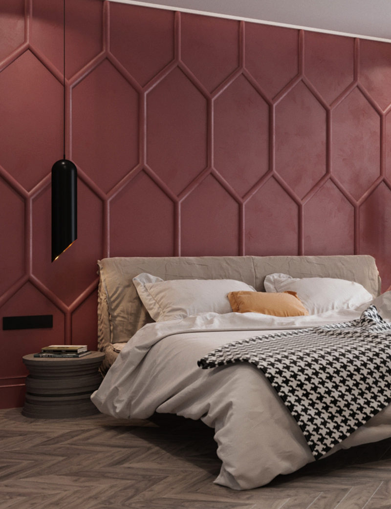 Design Detail - Moldings And Matte Red Paint Were Used To ...