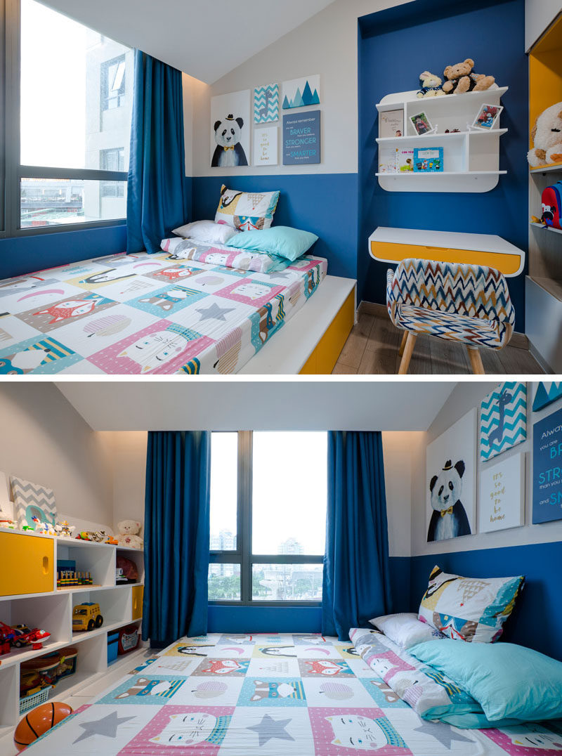 In this modern kid's bedroom, pops of blue and yellow have been used to add color and cheerfulness to the room. Click through to see more photos of this apartment. #KidsBedroom #BlueAndYellow #InteriorDesign #BedroomIdeas