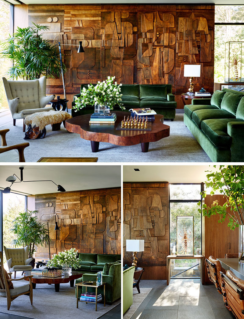 This living room features a patterned and artistic wood accent wall. #AccentWall #InteriorDesign #LivingRoom