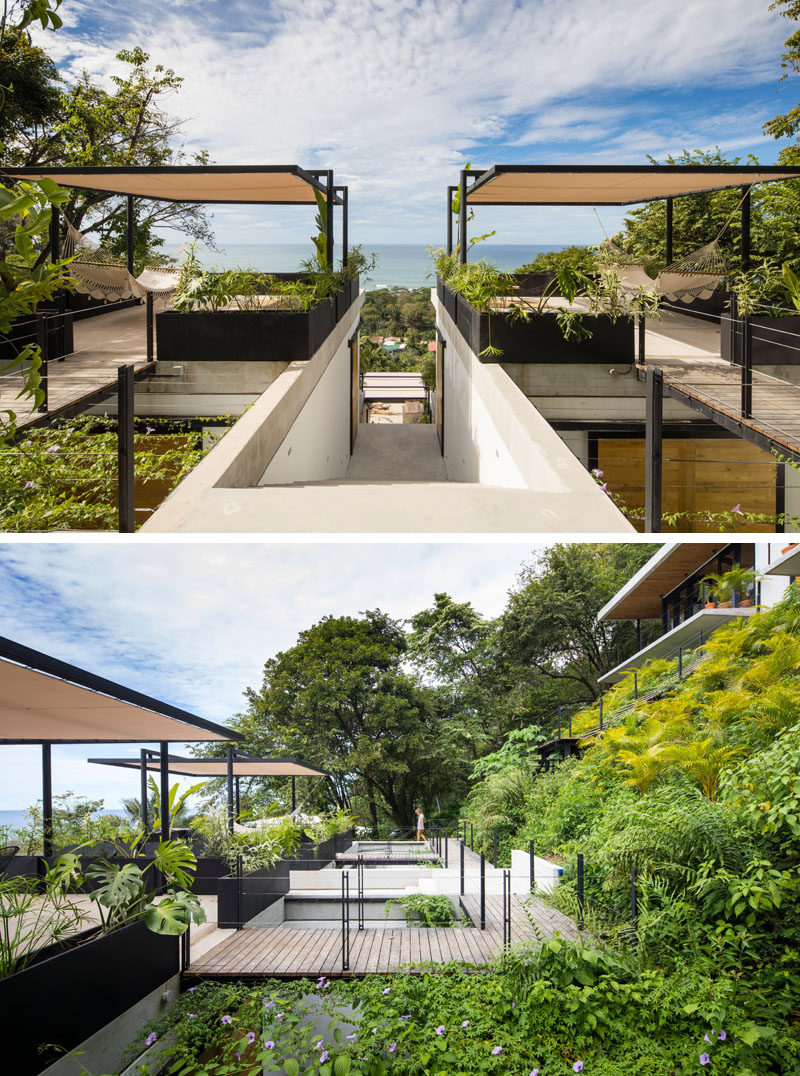 Each room of this modern hotel in Costa Rica has its own rooftop terrace, complete with lush plants, a sail for shade and furnished with rattan furniture made locally. #CostaRica #ModernHotel #HotelDesign