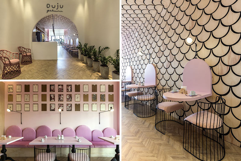 Eduardo Mederios Arquitetura e Design have recently completed the interiors of Duju Patisserie in Goiania, Brazil, that features U-shaped elements throughout. #ModernPatisserie #ModernCafe #InteriorDesign #CafeDesign