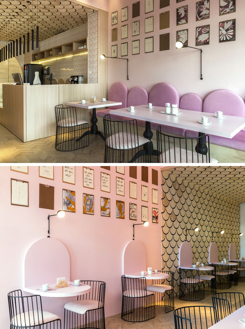 Off to the side of the service area of this modern patisserie is a seating area with pink bench seating with u-shaped backrests. #ModernCafe #ModernPatisserie #InteriorDesign