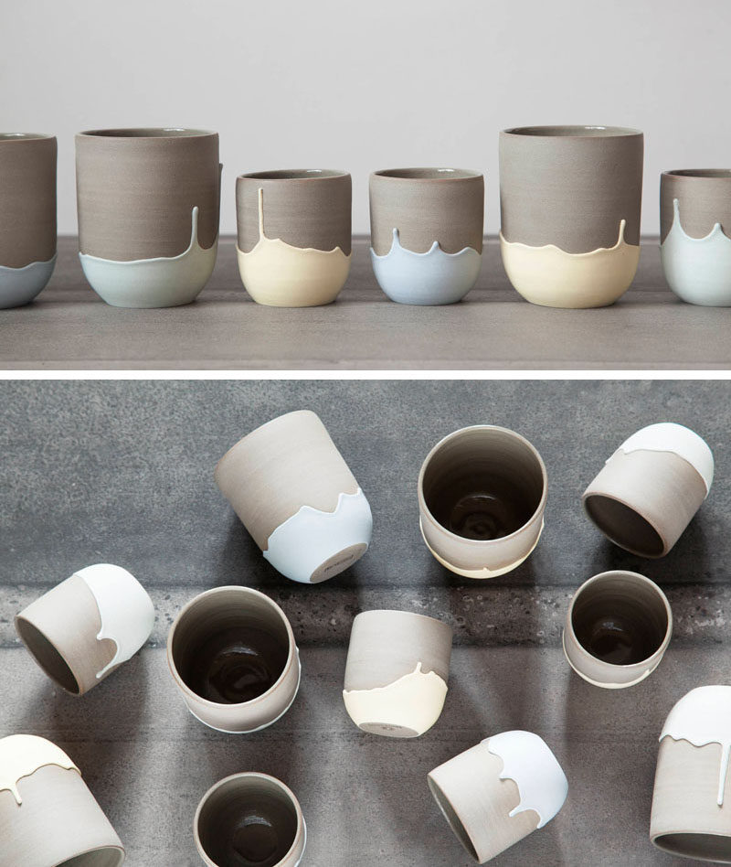 Celine Fafard, the owner and creator of Parceline, has designed a collection of modern ceramics from her studio in Montreal, Canada. #ModernCoffeeMug #CoffeeCup #CeramicMug #Modern