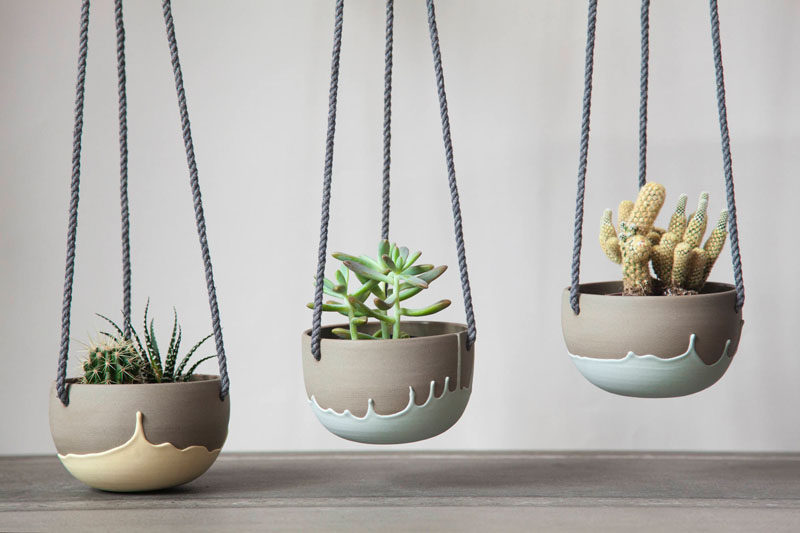 Celine Fafard, the owner and creator of Parceline, has designed a collection of modern ceramics from her studio in Montreal, Canada. #ModernCeramics #HomeDecor #HangingPlanter