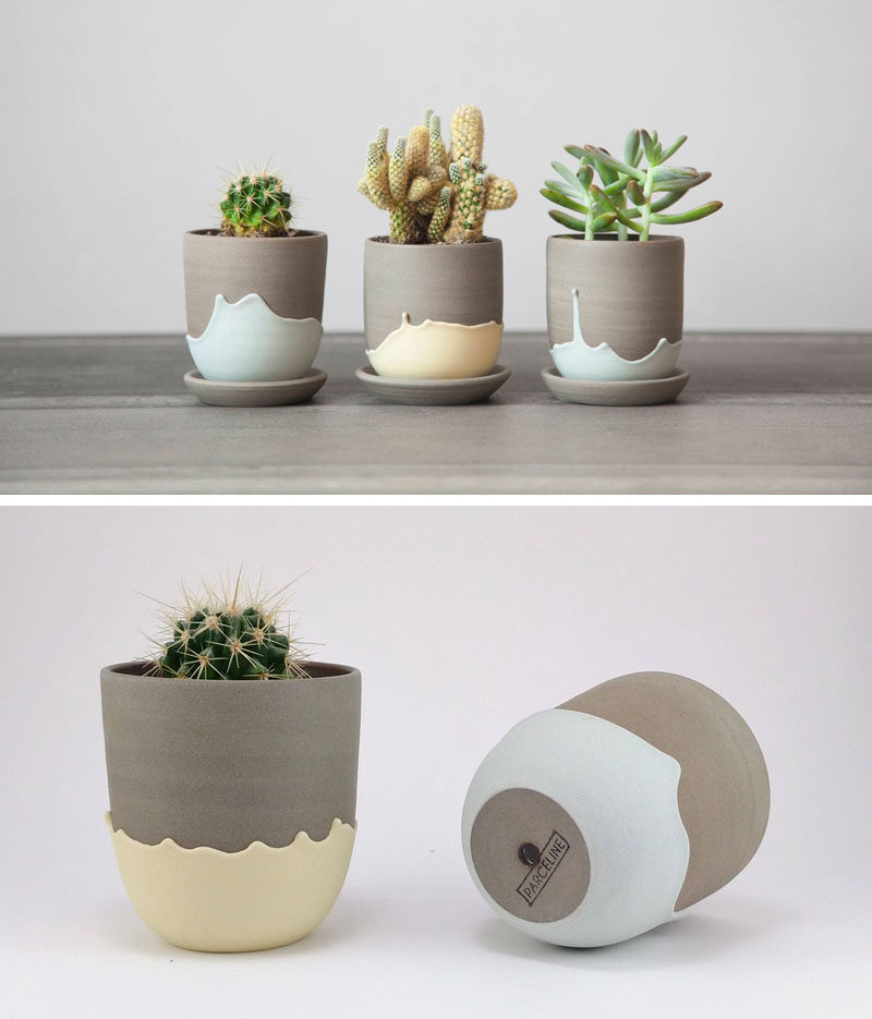 Celine Fafard, the owner and creator of Parceline, has designed a collection of modern ceramics from her studio in Montreal, Canada. #ModernPlanter #CeramicPlanter #Cactus #Decor #HomeDecor #Modern