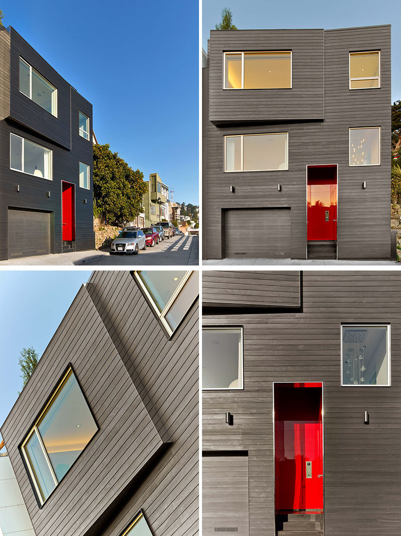 This modern house in San Francisco has an exterior of Shou Sugi Ban siding (charred wood), and a bright red front door. #ModernHouse #ShouSugiBan #CharredWoodSiding #FrontDoor