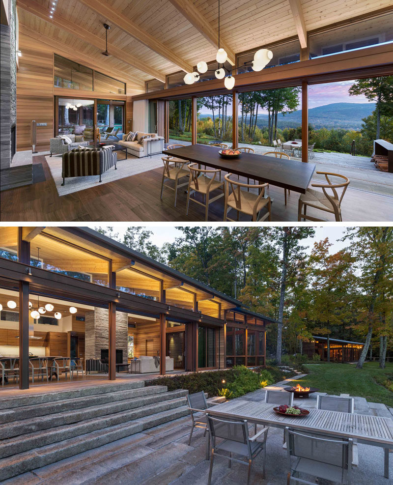 A 40-foot retractable glass door system opens up to create a true indoor / outdoor living environment for this modern house. #RetractableGlassDoors #IndoorOutdoor #ModernHouse