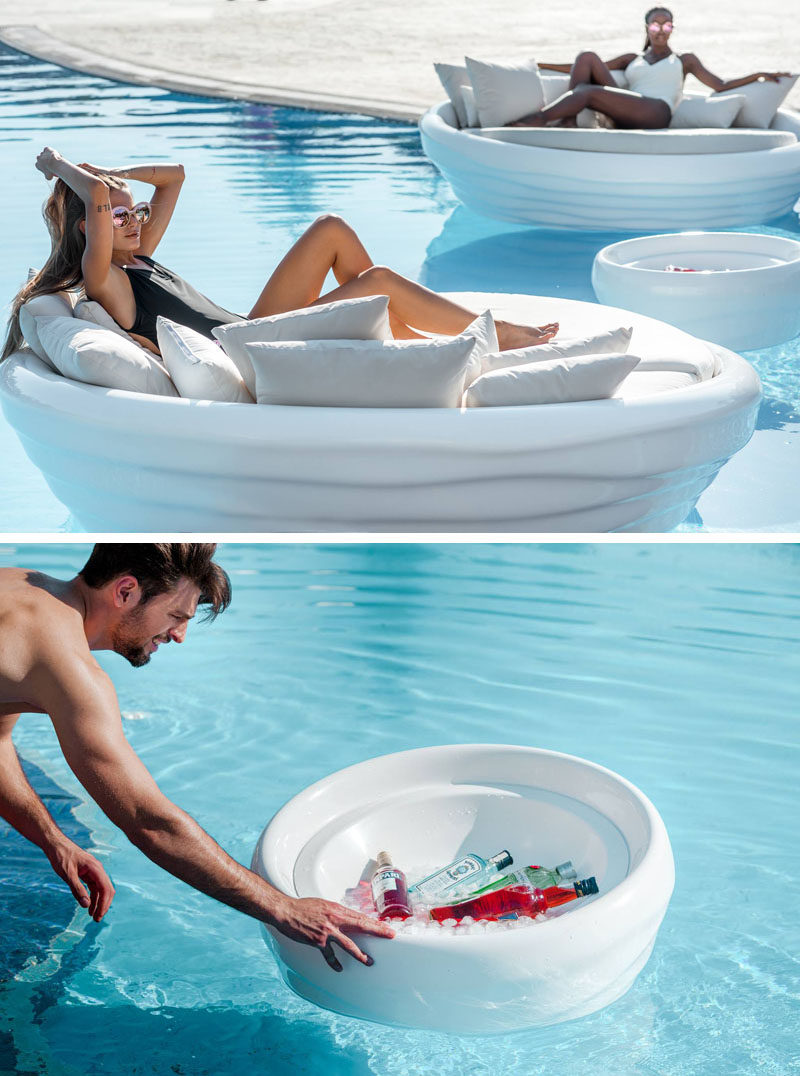 Greek furniture design studio INOMO have created a floating sunbed as part of their first floating furniture collection named 'Waves'. #Sunbed #FloatingSunbed #PoolFurniture