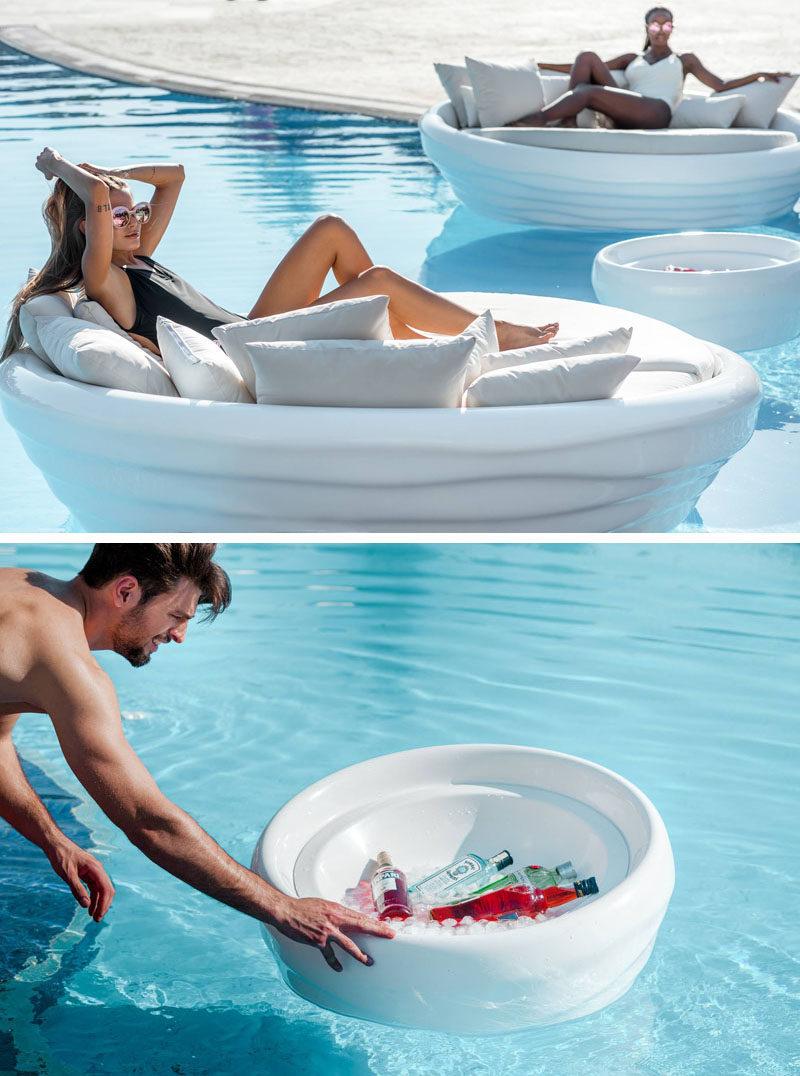 Greek furniture design studio INOMO have created a floating sunbedas part of their first floating furniture collection named 'Waves'. #Sunbed #FloatingSunbed #PoolFurniture