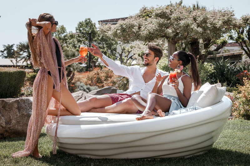 Greek furniture design studio INOMO have created a floating sunbed(which can also be used on land) as part of their first floating furniture collection named 'Waves'. #Sunbed #FloatingSunbed #PoolFurniture
