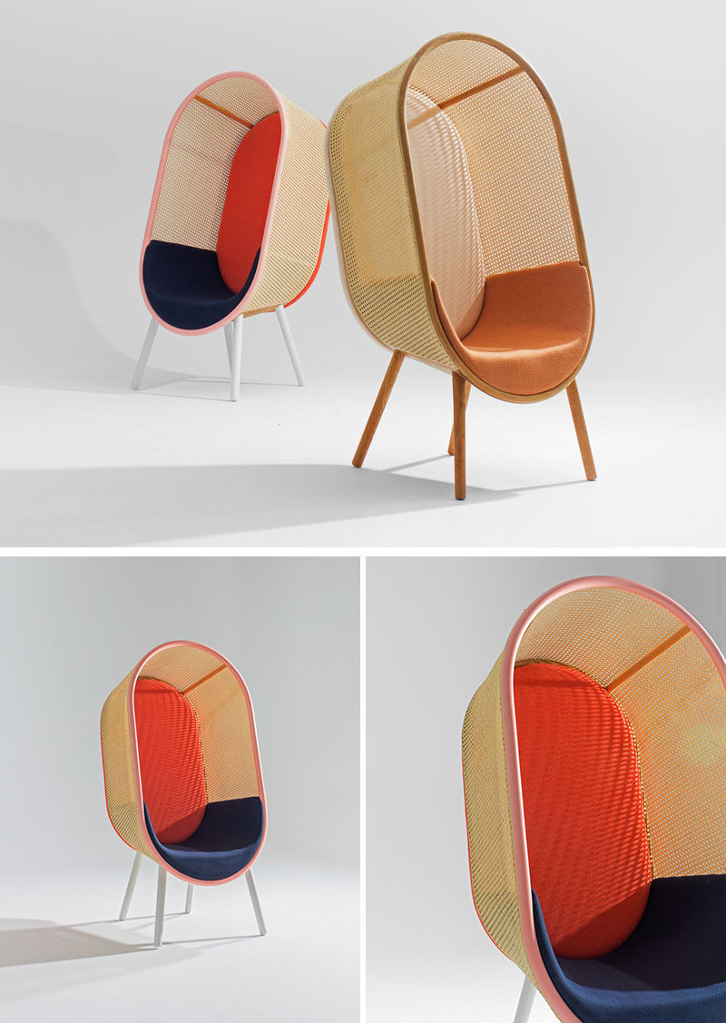 Kevin Hviid And Martin Kechayas have designed Cocoon, a modern yet timeless lounge chair for private and public spaces, whose design was inspired by the organic modernism of the 1960s, where soft and sculptural shapes melt together, and the classic egg-shaped hanging chair. #ModernFurniture #Chair #Seating #Design