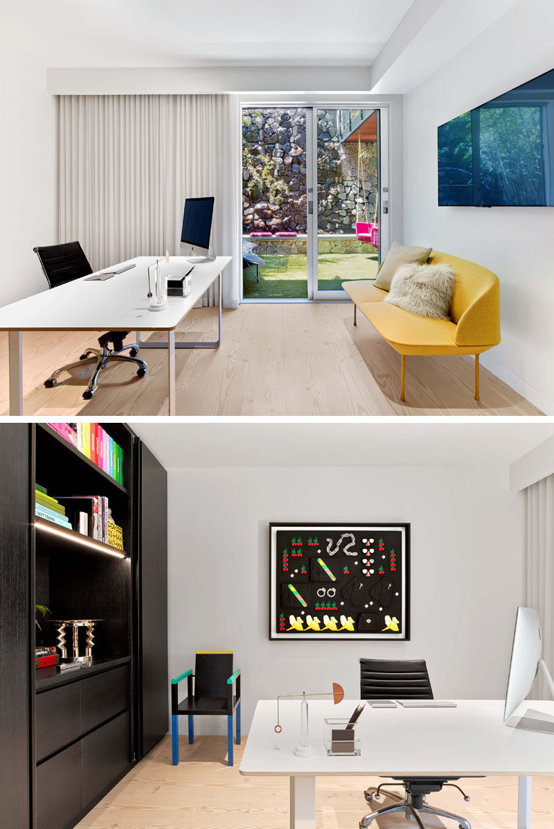 This modern home office has access to a small private yard with a lounge and swings. #ModernHomeOffice #Workplace #InteriorDesign