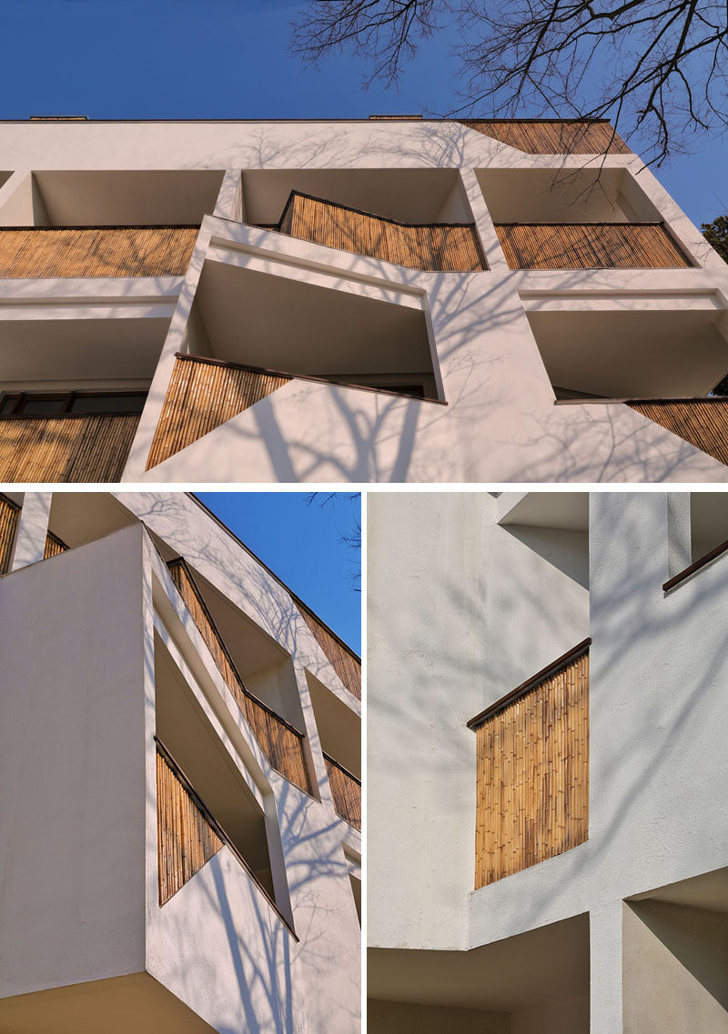 This modern hotel has angled balconies and uses locally sourced bamboo wood to create interest on the facade. #Hotel #Architecture #Balconies