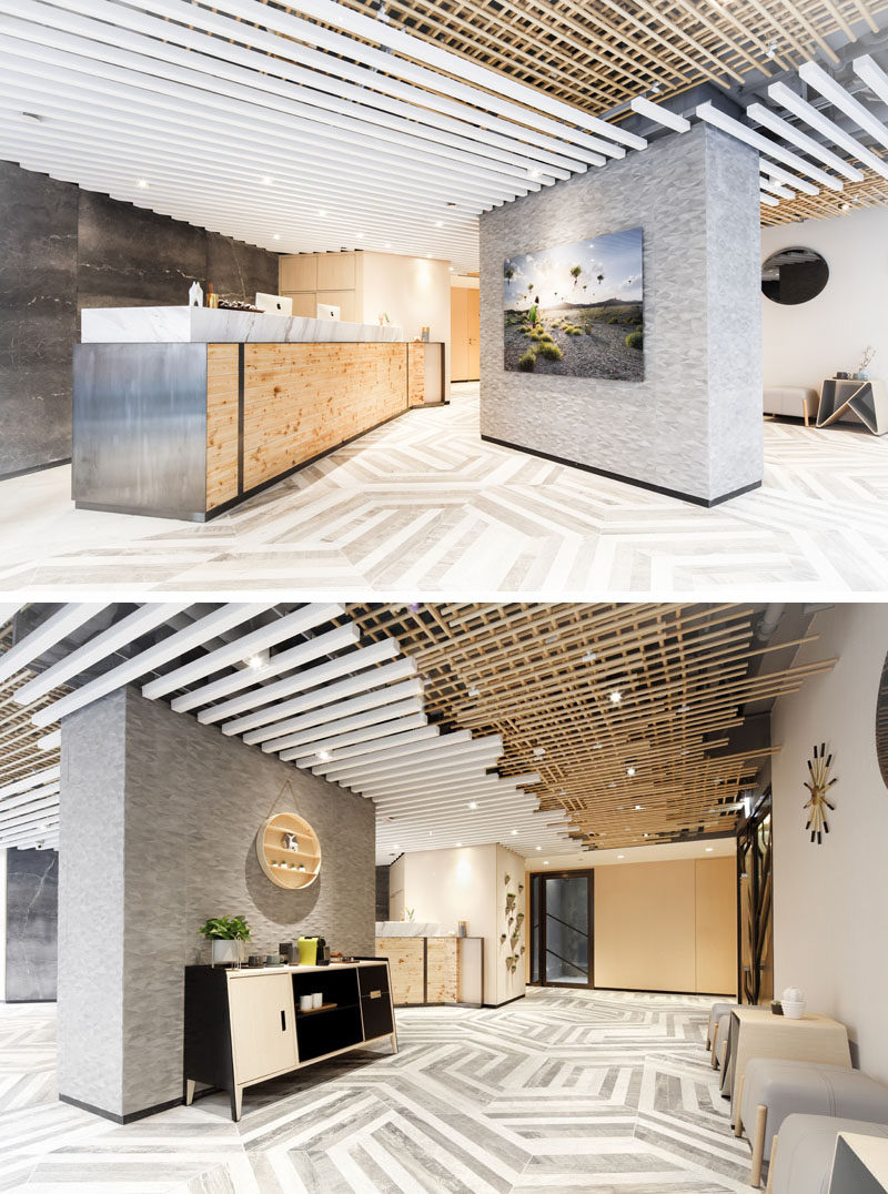 Inspired by tea houses and nature, this modern hotel uses a mix of wood, shades of grey and white, and concrete for a neutral and calming atmosphere. #ModernHotel #HotelInterior #HotelLobby #InteriorDesign