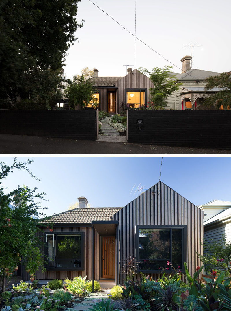 The new street facade of this original brick cottage was re-clad using greyed timber battens to soften the brown brick walls, while the bedrooms have been given a pop bay window relieving the flat facade. #WoodFacade #CurbAppeal #RenovatedHouse #Architecture